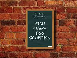 Fish, Snake, Egg, Scorpion